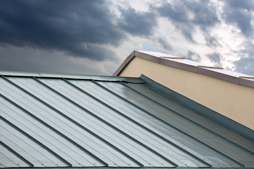 31619152 - new corrugated metallic gray roof of new house
